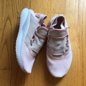 Puma, Pink Blush Suede Knit Sneakers
